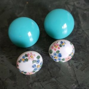 Vintage clip on Earrings.  1 light blue 1 flowers